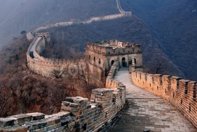 Poster Great Wall Sonnenuntergang über Berge in Peking, China.