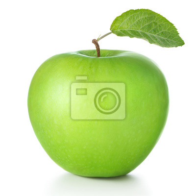 Poster green apple isolated on white background