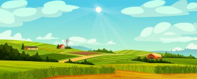 Poster Green fields landscape of farmland, barns and farms, rural houses and windmills. Vector pasture with buildings, green grass, meadows and trees, blue sky on background. Country agriculture farmland