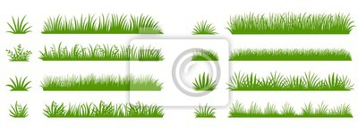 Poster Green grass silhouette. Cartoon lines of plants and shrubs for boarding and framing, eco and organic logo element. Vector set spring field planting shapes lawn or borders garden on white background