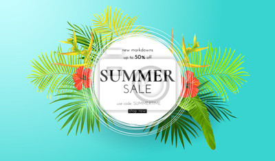 Poster Green summer tropical background with exotic palm leaves and hibiscus flowers. Vector floral background. Sale banner or flyer template.