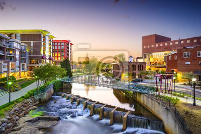 Poster Greenville, South Carolina, USA Downtown Stadtbild
