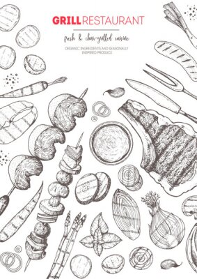 Poster Grilled meat and vegetables top view frame. Vector illustration. Engraved design. Hand drawn illustration. Grill restaurant menu design template. Food on the grill.