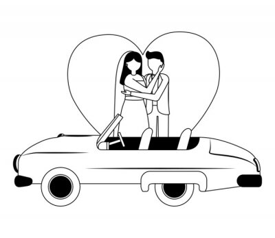 groom and bride with car wedding day love