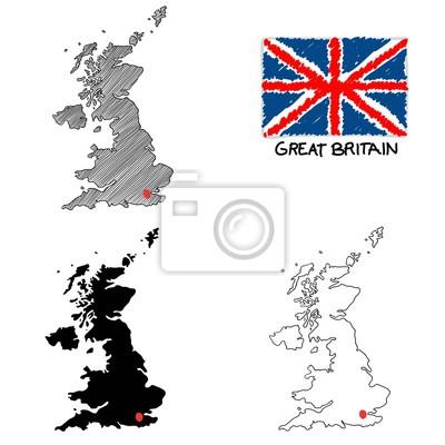 Großbritannien Karte Umriss.Poster Großbritannien England Karte Gezeichnet Umriss Schraffiert Mit