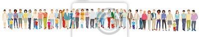 Poster Große freundliche Menschengruppe stehen zusammen