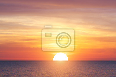 Poster Große Sonne und Meer Sonnenuntergang