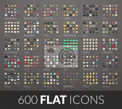 Poster Große Symbole gesetzt, 600 Vektor-Piktogramm flach mit Schatten gefärbt