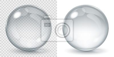 Poster Große transparente Glaskugel und opake Kugel mit Glares und Schatten. Transparenz nur in Vektordatei