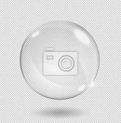 Poster Große weiße transparente Glaskugel mit Glanz und Glanzlichtern. Transparenz nur im Vektorformat.