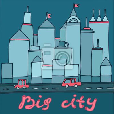 Großstadt, Wolkenkratzer Autos Cartoon