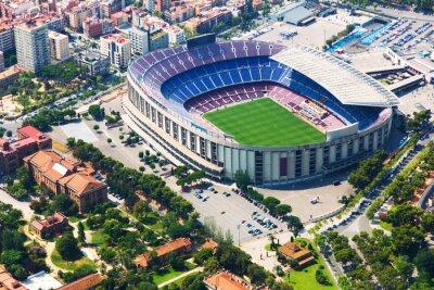 Poster Größte Stadion von Barcelona vom Hubschrauber. Katalonien