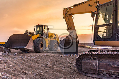 Poster Group of excavator working on a construction site