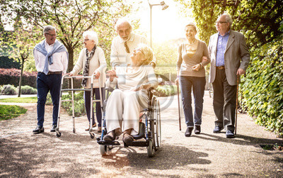 Poster Group of old people walking outdoor