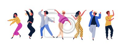 Poster Group of young happy dancing people or male and female dancers isolated on white background. Smiling young men and women enjoying dance party. Colorful vector illustration in flat cartoon style.