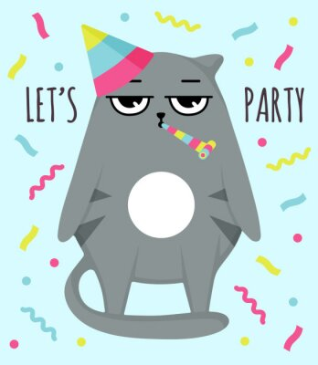 Poster Grumpy cat invitation card. Let party. Cat in cap. Party atribution. congratulatory postcards