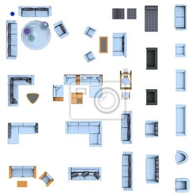 Poster Grundriss, Wohnzimmer Möbel Set