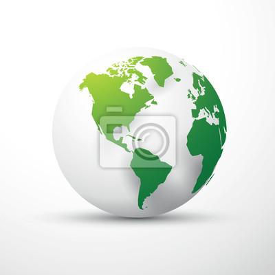 Grüne erdkugel amerika wandposter • poster Hemisphäre, europa, bio ...