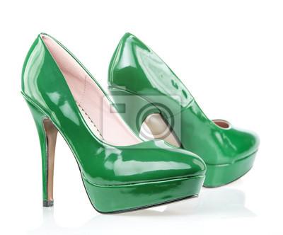 Grüne high heels schuhe mit plattform wandposter • poster High Heel ...