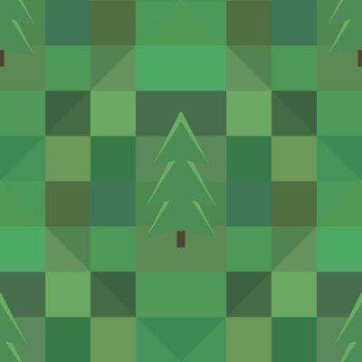Poster Grüne Quadrat Muster viele Bäume Hintergrund