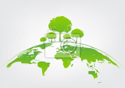 Poster Grüner Baum auf der Erde für ökologiefreundliches Konzept und Weltumwelt und nachhaltiges Entwicklungskonzept