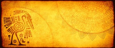 Poster Grunge background with American Indian traditional patterns
