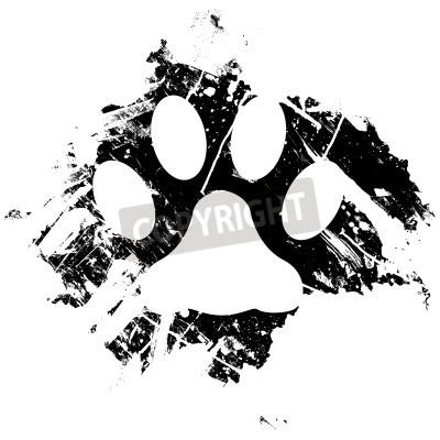 Poster Grunge Haustier oder Katzentatzendruckes. Kann als Hintergrund oder als Nebenfach Designelement verwendet werden.