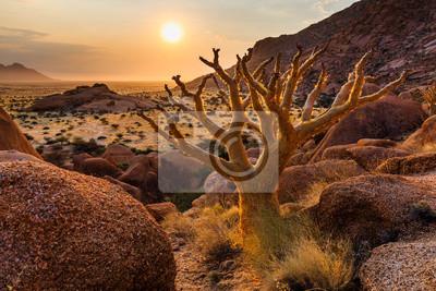 Poster Gruppe von kahlen Granitspitzen - Spitzkoppe (Damaraland, Namibia)