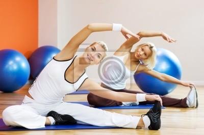 Poster Gruppe von Menschen tun, Stretching Übung
