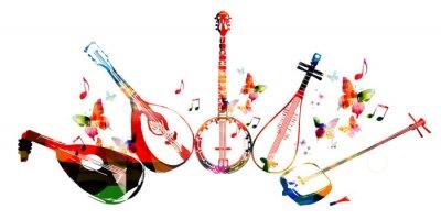 Poster Gruppe von Musikinstrumenten mit Schmetterlingen