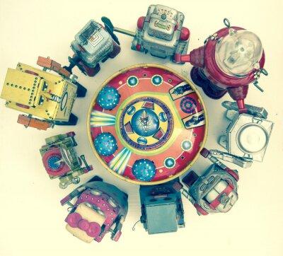 Poster Gruppe von Roboter-Spielzeug