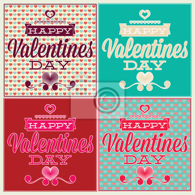Poster Grußkarte für Valentinstag. Set und nahtlose Muster
