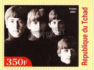 Poster GUINEA - CIRCA 2003: The Beatles - 1980er berühmten musikalischen Pop-Gruppe.