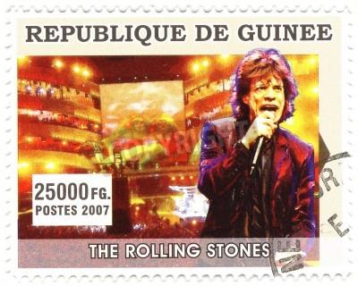 Poster GUINEA - CIRCA 2007 berühmte Rocksänger Mick Jagger von Musikband der Rolling Stones