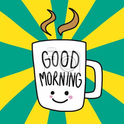 Guten Morgen Kaffee Wort Schriftzug Lächeln Gesicht Und