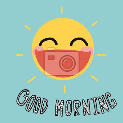 Guten Morgen Sonne Lächeln Niedlichen Vektor Illustration