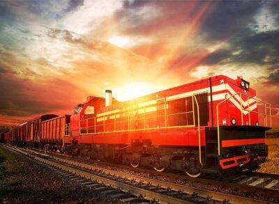 Poster Güterzug in der Morgensonne