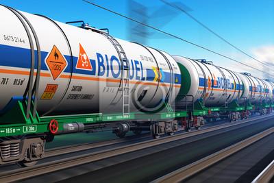Poster Güterzug mit Biosprit tankcars