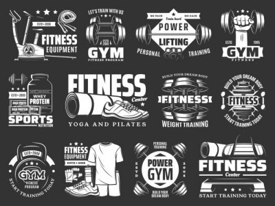 Poster Gym fitness training, sport equipment shop icons. Sport nutrition protein, yoga and pilates center, power and weight training, fitness clothing store badge. Dumbbell, barbell and exercise bike vector