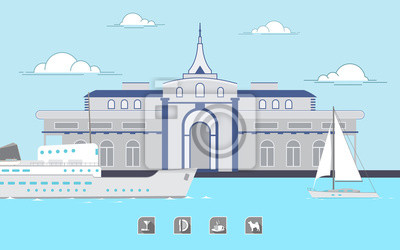 Poster Hafenstadt mit der Marina, illustration