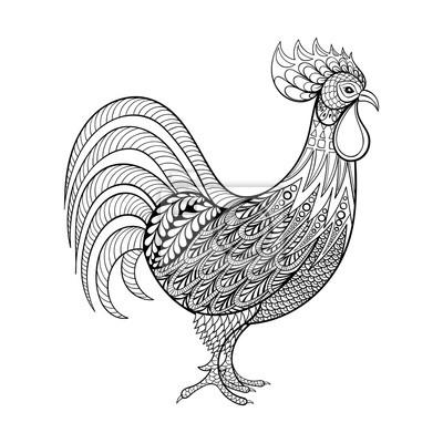 Hahn Huhn Inländischen Landwirt Vogel Für Malvorlagen Zenta