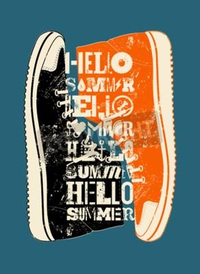 Poster Hallo Sommer! Sommer typografischer grunge Retro Plakatentwurf. Abbildung.