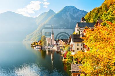 Poster Hallstatt-Dorf in den österreichischen Alpen