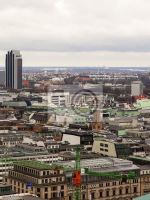 Hamburg, Deutschland, February. Blick auf die Stadt von oben