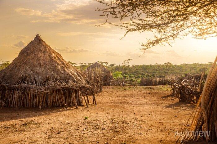Poster Hamer village near Turmi, Ethiopia