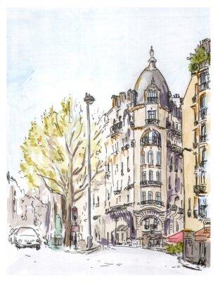 Poster Hand bemalt Farbe Skizze der Pariser Straße