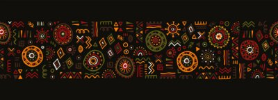 Poster Hand drawn abstract seamless pattern, ethnic background, african style - great for textiles, banners, wallpapers, wrapping - vector design