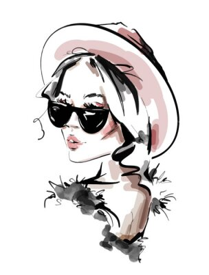 Poster Hand drawn beautiful young woman in sunglasses. Stylish elegant girl. Fashion woman look. Sketch. Vector illustration.