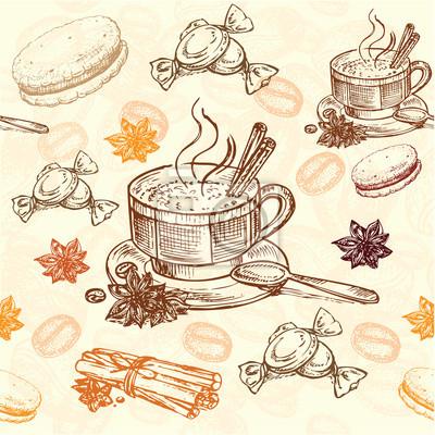 Poster hand drawn coffee pattern