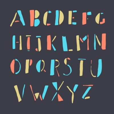 Poster Hand-drawn Colorful Doodles Alphabet